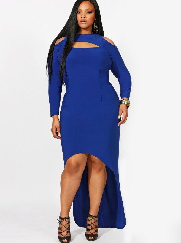 Dana Exposed Shoulder High /Low Dress--$195
