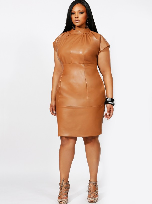 Kate High Neck Leather Dress--$595
