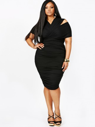 Marilyn Ruched Convertible Dress in Black -- $215