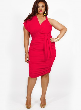 Marilyn Ruched Convertible Dress in Hot Coral-- $215