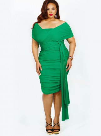 Marilyn Ruched Convertible Dress in Kelly Green-- $215