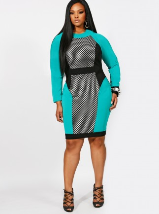 Paige Mesh Inset Color Block Dress-- $208