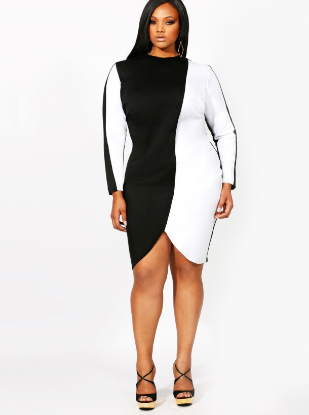 Tabitha Colorblock Dress with Scalloped Hem-- $195