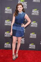 Love Chloe Moretz stuns in a denim patchwork dress