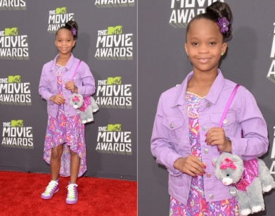 Cutie Quvenzhane Wallis looked adorable in a floral dress and her staple dog purse